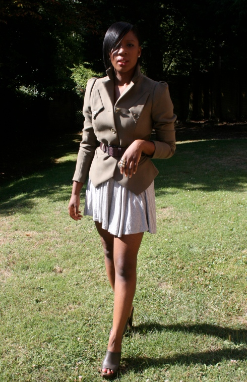 H&M Trend Military Jacket with Zara Clogs